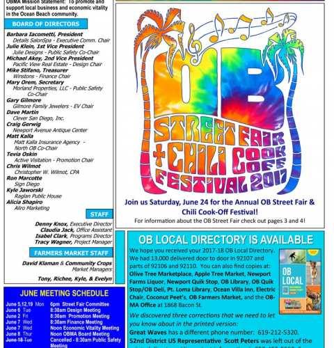 Ocean Beach MainStreet Association Newsletter June 2017
