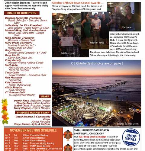 Ocean Beach MainStreet Association Newsletter November 2017