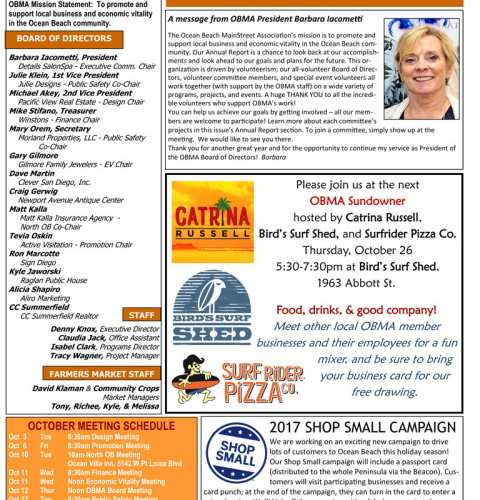 Ocean Beach MainStreet Association Newsletter October 2017
