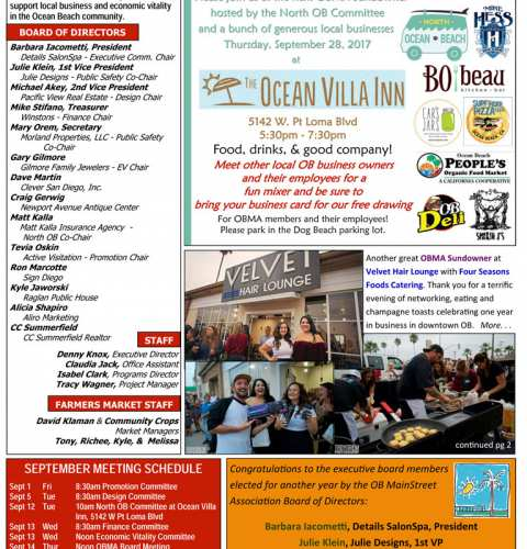 Ocean Beach MainStreet Association Newsletter September 2017