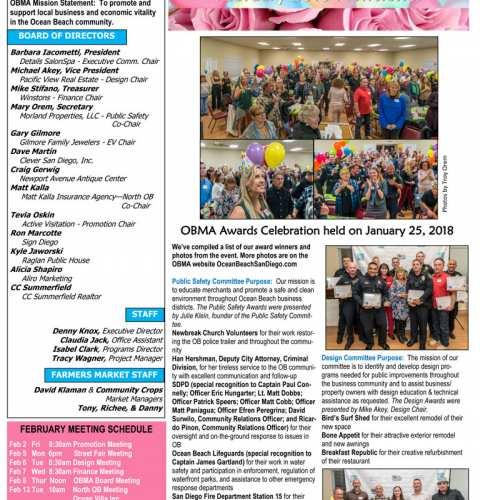 Ocean Beach MainStreet Association Newsletter February 2018