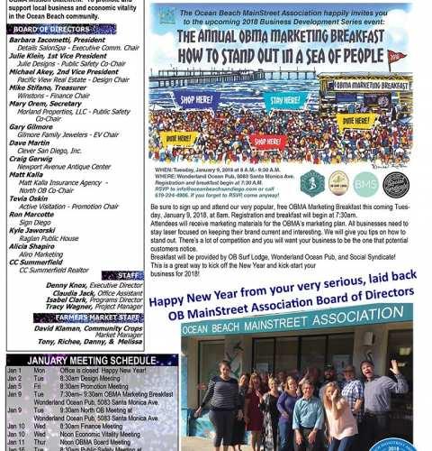 Ocean Beach MainStreet Association Newsletter January 2018