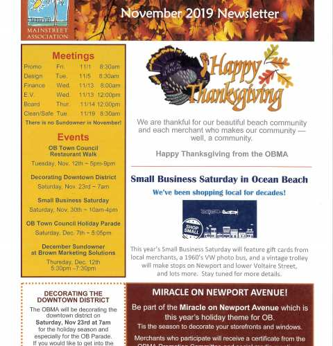 Ocean Beach MainStreet Association Newsletter November 2019