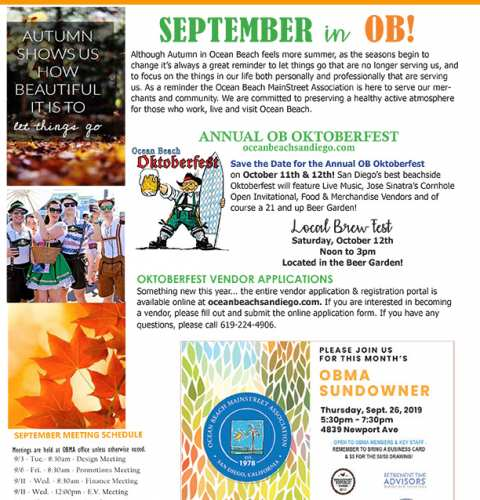 Ocean Beach MainStreet Association Newsletter September 2019 Newsletter