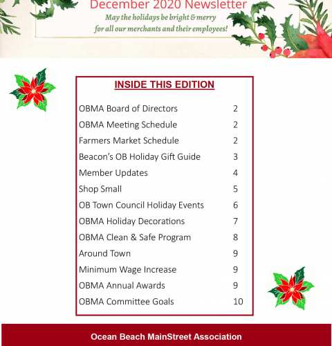 Ocean Beach MainStreet Association Newsletter December 2020