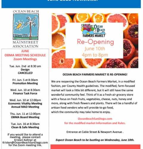 Ocean Beach MainStreet Association Newsletter June 2020