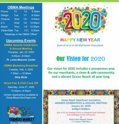 Ocean Beach MainStreet Association Newsletter January 2020