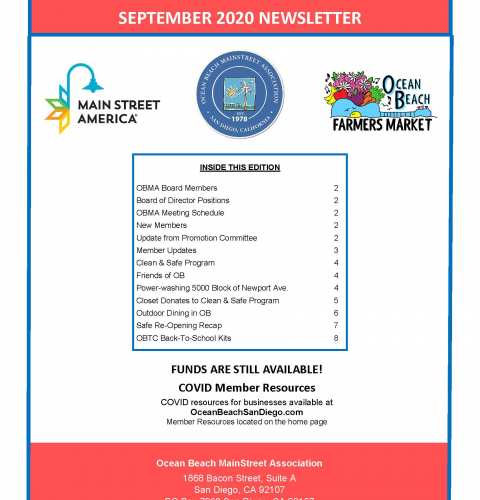 Ocean Beach MainStreet Association Newsletter September 2020