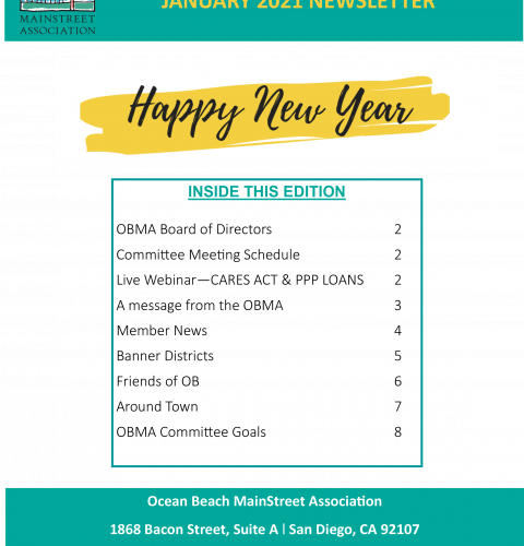 Ocean Beach MainStreet Association Newsletter January 2021