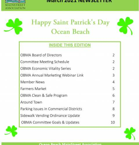 Ocean Beach MainStreet Association Newsletter March 2021