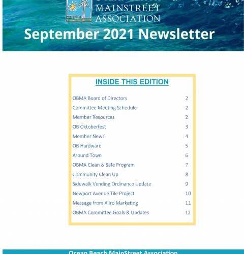 Ocean Beach MainStreet Association Newsletter September 2021
