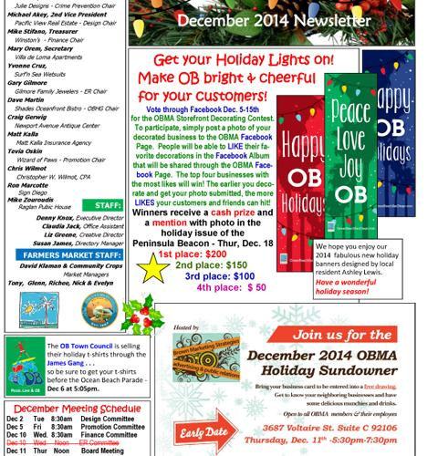 Ocean Beach MainStreet Association December 2014 Newsletter