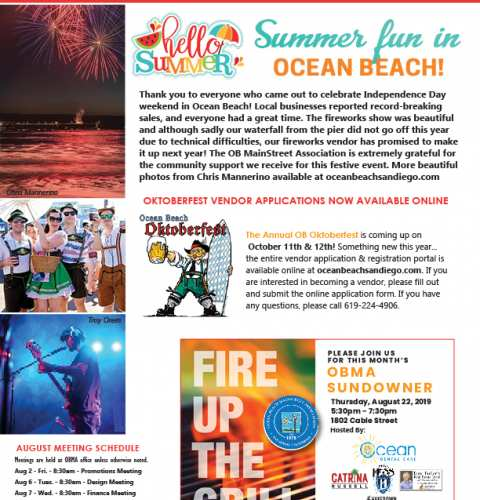 Ocean Beach MainStreet Association Newsletter August 2019 Newsletter