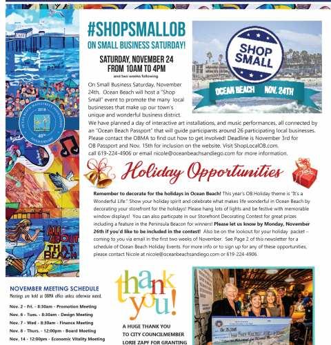 Ocean Beach MainStreet Association Newsletter November 2018
