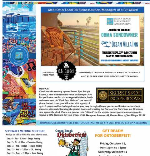 Ocean Beach MainStreet Association Newsletter September 2018