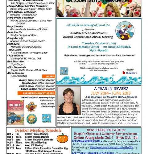 Ocean Beach MainStreet Association Newsletter October 2015