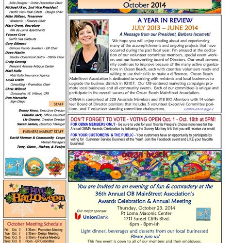 Ocean Beach MainStreet Association Newsletter October 2014 Newsletter