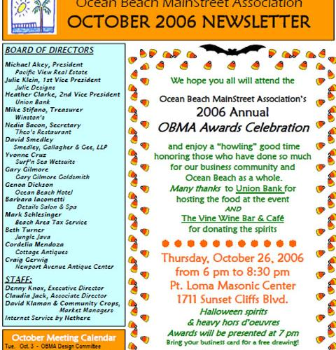 Ocean Beach MainStreet Association Newsletter October 2006