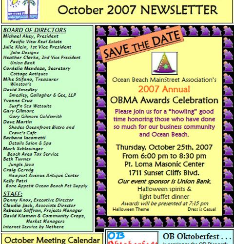 Ocean Beach MainStreet Association Newsletter October 2007