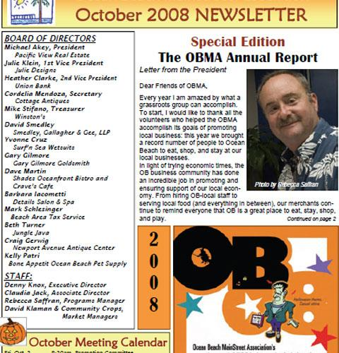 Ocean Beach MainStreet Association Newsletter October 2008