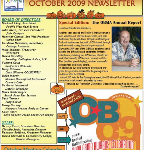 Ocean Beach MainStreet Association Newsletter October 2009