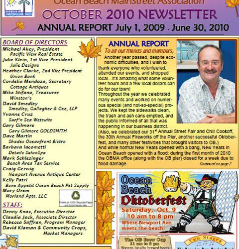 Ocean Beach MainStreet Association Newsletter September 2010