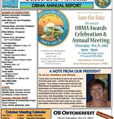Ocean Beach MainStreet Association Newsletter October 2012