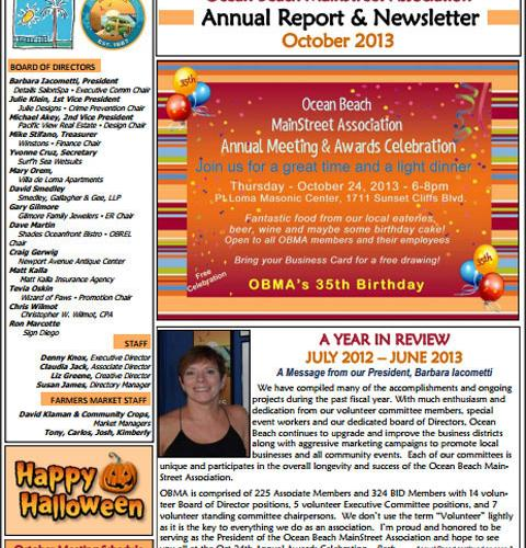 Ocean Beach MainStreet Association Newsletter September 2013