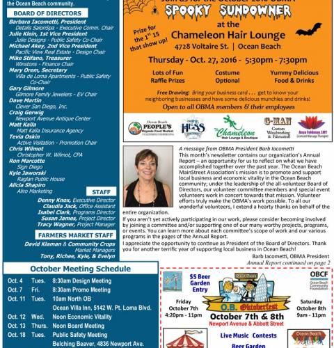 Ocean Beach MainStreet Association Newsletter October 2016