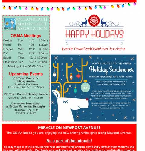 Ocean Beach MainStreet Association Newsletter Dec. 2019
