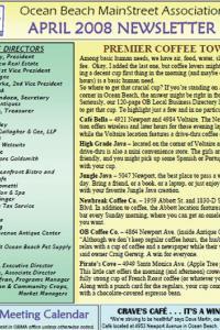 Ocean Beach MainStreet Association April 2008 Newsletter
