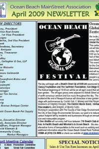 Ocean Beach MainStreet Association April 2009 Newsletter