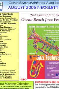 Ocean Beach MainStreet Association August 2006 Newsletter