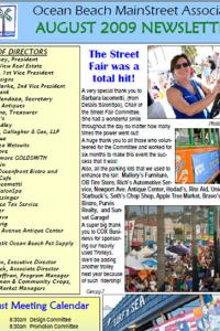 Ocean Beach MainStreet Association August 2009 Newsletter