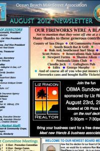 Ocean Beach MainStreet Association Newsletter August 2012