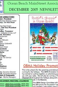 Ocean Beach MainStreet Association December 2005 Newsletter