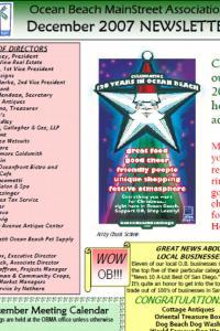 Ocean Beach MainStreet Association December 2007 Newsletter