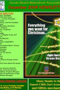 Ocean Beach MainStreet Association December 2009 Newsletter