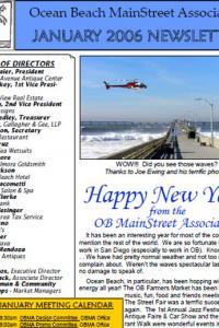 Ocean Beach MainStreet Association January 2006 Newsletter