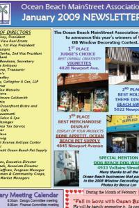 Ocean Beach MainStreet Association January 2009 Newsletter
