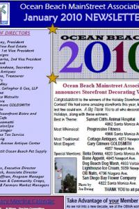 Ocean Beach MainStreet Association January 2010 Newsletter