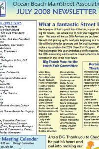 Ocean Beach MainStreet Association July 2008 Newsletter