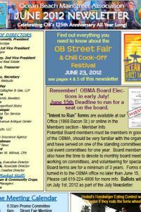 Ocean Beach MainStreet Association June 2012 Newsletter