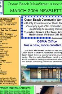 Ocean Beach MainStreet Association March 2006 Newsletter