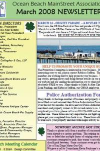 Ocean Beach MainStreet Association March 2008 Newsletter