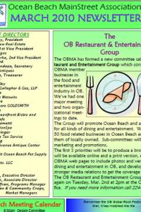 Ocean Beach MainStreet Association March 2010 Newsletter