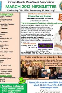 Ocean Beach MainStreet Association March 2012 Newsletter
