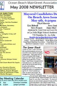 Ocean Beach MainStreet Association May 2008 Newsletter
