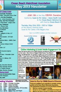 Ocean Beach MainStreet Association May 2013 Newsletter