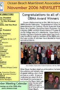 Ocean Beach MainStreet Association November 2006 Newsletter